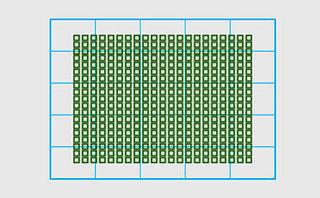 センサーの45%の範囲に399個配置されたAFポイントの図